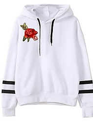 cheap -Women's Long Sleeves Cotton Hoodie - Solid, Embroidery