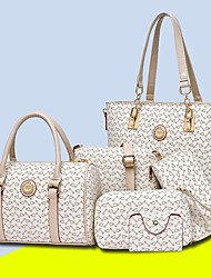 cheap -Women's Bags PU Bag Set 5 Pieces Purse Set Pattern / Print for All Seasons Blushing Pink Beige Purple Coffee Sky Blue
