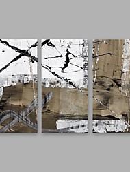 Недорогие -Ручная роспись Абстракция Вертикальная, Modern холст Hang-роспись маслом Украшение дома 3 панели