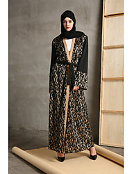 cheap -Women's Party Daily Wear Casual Loose Lace Abaya Dress,Color Block Round Neck Maxi Long Sleeve Polyester Cotton/nylon with a hint of
