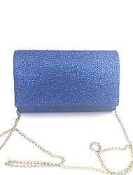 economico -Donna Sacchetti PVC Raso/Satin Pochette Dettagli con cristalli per Serata/evento Tutte le stagioni Blu Oro Argento