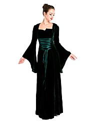 Vintage Medieval Costume Female One Piece Dress Cosplay Costumes Masquerade Black Vintage Cosplay Polyster Long Sleeves Floor Length