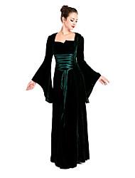 Uma Peça Vestidos Fantasias de Cosplay Baile de Máscara Lolita Clássica e Tradicional Medieval Cosplay Vestidos Lolita Preto Sólido