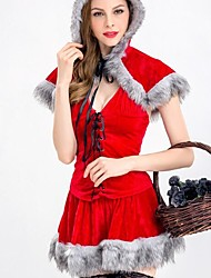 cheap -Santa Suit Cosplay Costume Women's Christmas Halloween Carnival Oktoberfest New Year Festival / Holiday Halloween Costumes Red Color Block