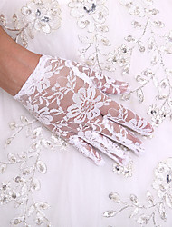 cheap -Lace Wrist Length Glove Flower Girl Gloves With Rhinestone Pearl