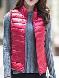 economico -Standard Piumino Da donna,Cappotto Semplice Casual Tinta unita Poliestere Cotone Senza maniche Colletto alla coreana
