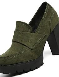 preiswerte -Damen Schuhe Wildleder Winter Komfort Pumps High Heels Block Ferse Runde Zehe Für Kleid Schwarz Grün