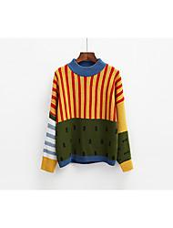 preiswerte -Damen Einfarbig Alltag Freizeit Pullover Langarm Rundhalsausschnitt Baumwolle