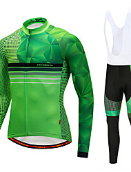 cheap -Cycling Jersey with Bib Tights Men's Long Sleeves Bike Bib Tights Tights Pants / Trousers Jersey Top Clothing Suits Quick Dry 3D Pad 90%