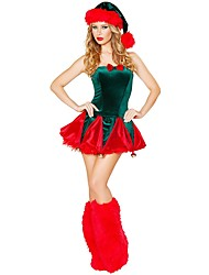 cheap -Santa Claus / Mrs.Claus Outfits Women's Christmas Festival / Holiday Halloween Costumes Red Mixed Color / Holiday / Christmas