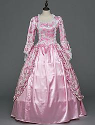 abordables -Victorien Rococo Costume Femme Adulte Costume de Soirée Bal Masqué Rose Vintage Cosplay Satin Stretch Manches Longues Longueur Sol