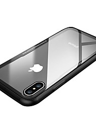 cheap -Case For Apple iPhone X iPhone X Shockproof Ultra-thin Back Cover Solid Color Transparent Hard Tempered Glass for iPhone X