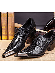 cheap -Men's Shoes Real Leather All Season Formal Shoes Novelty Oxfords Rivet Buckle For Wedding Party & Evening Black