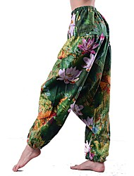 cheap -Women's Mid Rise Micro-elastic Loose Chinos Pants,Vintage Chinoiserie Striped Floral Print Linen All Seasons