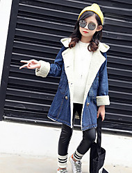 cheap -Girls' Solid Jacket & Coat Blue