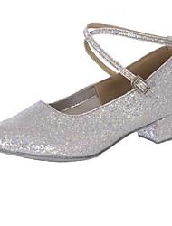 baratos -Mulheres Sapatos de Dança Moderna Materiais Customizados Salto Salto Baixo Personalizável Sapatos de Dança Dourado / Prata / Interior