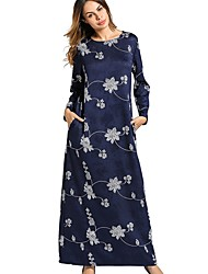 Women's Daily Tunic Dress,Floral Round Neck Maxi Long Sleeve Polyester All Season Mid Rise Micro-elastic Opaque