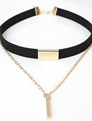 cheap -Women's Line Simple Elegant Choker Necklace Leather Alloy Choker Necklace , Casual Going out