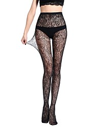 cheap -Women's Thin Pantyhose,Nylon Floral Jacquard One-piece Suit Black
