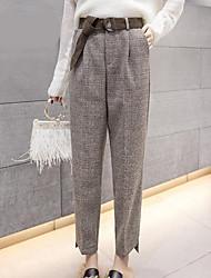cheap -Women's Mid Rise Micro-elastic Wide Leg Pants,Casual Color Block Winter Fall