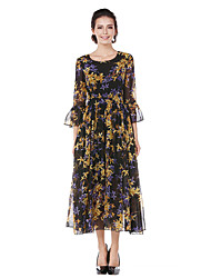 Women's Going out Casual/Daily Simple Street chic A Line Chiffon Swing DressFloral V Neck Midi 3/4 Sleeve Cotton Polyester All Season