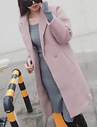 Cappotto Da donna Casual Semplice Inverno,Tinta unita Colletto Poliestere 100% cashmere Lungo Manica lunga