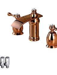 Moderne Montage Jet pluie Soupape céramique Deux poignées trois trous Or rose , Robinet lavabo