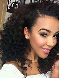 cheap -Remy Peruvian Lace Wig Curly With Baby Hair Glueless Lace Front 100% Virgin 180% Density Natural Black Short Medium