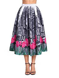 cheap -Women's Party/Cocktail Club Midi Skirts,Boho A Line Polyester Spandex Print Winter