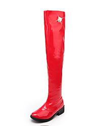 Недорогие -Для женщин Обувь Лакированная кожа Осень Зима Модная обувь Армейские ботинки Ботинки Круглый носок Сапоги выше колена Стразы