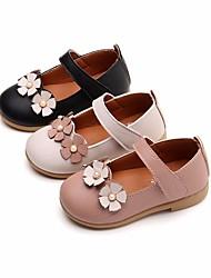 abordables -Fille Chaussures Polyuréthane Printemps Eté Chaussures de Demoiselle d'Honneur Fille Ballerines pour Décontracté Blanc Noir Rose