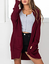 cheap -Women's Daily Daily Wear Casual Street chic Long Cardigan,Solid Shawl Collar Long Sleeve Polyester Spring/Fall Medium Micro-elastic