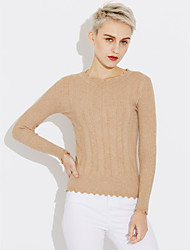 cheap -Women's Long Sleeves Cotton Pullover - Solid Colored