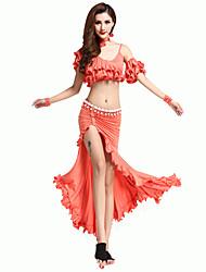 economico -abiti da danza del ventre allenamento da donna in poliestere, pieghe senza maniche, gonne cadenti, top di will we®