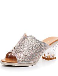 cheap -Women's Slipper & Flip-Flop Novelty Spring Summer Fall Winter Microfibre Leather Casual Outdoor Sparkling Glitter Polka Dot Chunky Heel