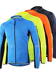 Недорогие -Arsuxeo Муж. Длинный рукав Велокофты Оранжевый Светло-желтый Серый Черный Велоспорт Джерси Верхняя часть Со светоотражающими полосками Виды спорта 100% полиэстер Горные велосипеды Шоссейные велосипеды
