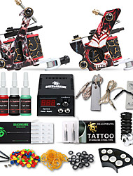 cheap -Tattoo Machine Starter Kit 2 cast iron machine liner & shader High Quality LCD power supply 2 x stainless steel grip 50 pcs Tattoo Needles