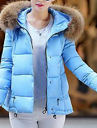 baratos -Mulheres Feriado Moda de Rua Algodão Duvet Sólido Com Capuz / Inverno / Forrado
