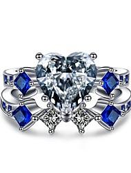 Недорогие -Жен. Кольцо Цирконий 2 Тёмно-синий Циркон Серебрянное покрытие В форме короны Геометрической формы принцесса Классика Винтаж Elegant Мода