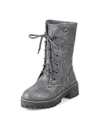 レディース 靴 PUレザー 冬 秋 コンフォートシューズ ブーツ チャンキーヒール ラウンドトウ 用途 ホワイト ブラック グレー Brown