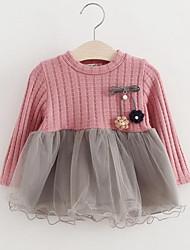 abordables -Robe Fille de Rayonne Polyester Manches Longues Princesse Chic de Rue Rose Claire Gris
