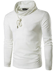 Men's Going out To-Go Sweatshirt Solid Turtleneck Micro-elastic Polyester Long Sleeves Winter Fall