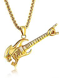 Недорогие -Муж. Гитара форма Хип-хоп Мода Ожерелья с подвесками Сталь Титан Ожерелья с подвесками Бар Для клуба Бижутерия