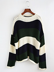 cheap -Women's Long Sleeves Pullover - Striped