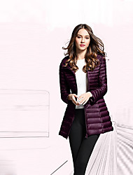 cheap -Women's Long Down Coat,Casual Daily Solid-Polyester Long Sleeves