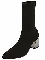 abordables -Femme Chaussures Tissu Hiver boîtes de Combat Bottes Bout pointu pour De plein air Noir