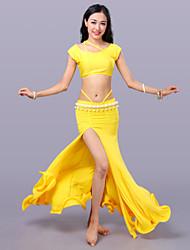 Dança do Ventre Roupa Mulheres Treino Fibra de Leite Sem Mangas Caído Saias Blusas