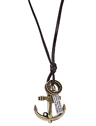 Недорогие -Муж. анкер форма Винтаж На каждый день Заявление ожерелья Кожа Сплав Заявление ожерелья Повседневные
