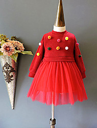 Girl's School Holiday Solid Dress,Cotton Polyester Long Sleeves Cute Active Princess Red Blushing Pink