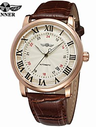 cheap -WINNER Men's Automatic self-winding Wrist Watch Calendar / date / day Leather Band Vintage Casual Dress Watch Fashion Cool Black Brown